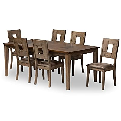 Baxton Studio 7 Piece Edwige Shabby Chic Country Cottage Weathered Gray/Oak Brown 2-Tone Extendable Dining Set, Gray - 7-piece dining set made from solid rubber wood and oak veneer Weathered grey finished frame and legs Extendable table in two-tone finishing - kitchen-dining-room-furniture, kitchen-dining-room, dining-sets - 41VhVKRZB4L. SS400  -