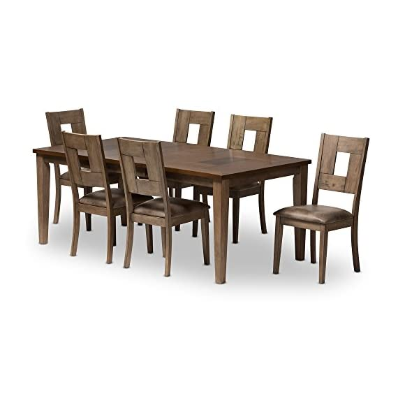 Baxton Studio 7 Piece Edwige Shabby Chic Country Cottage Weathered Gray/Oak Brown 2-Tone Extendable Dining Set, Gray - 7-piece dining set made from solid rubber wood and oak veneer Weathered grey finished frame and legs Extendable table in two-tone finishing - kitchen-dining-room-furniture, kitchen-dining-room, dining-sets - 41VhVKRZB4L. SS570  -