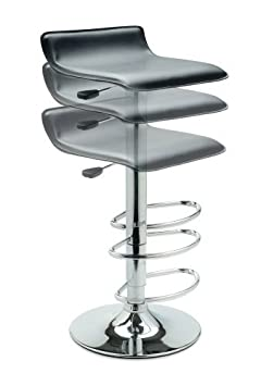 Vinyl Bar Stool W Adjustable Height Air Lift Swivel 2002 Black
