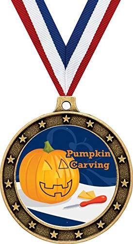 Gold Pumpkin Carving Halloween Medals - 2.5