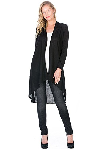Modern Kiwi Solid Essential Long Cascading Cardigan Black Large