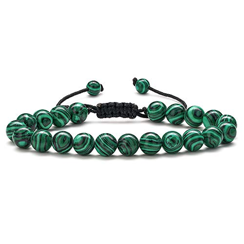 Malachite Beaded Bracelets for Men Green - 8mm Tiger Eye Stone Beads Bracelet Adjustable Natural Matte Agate Onyx Yoga Essential Oils Anxiety Aromatherapy Bracelets Jewelry Birthday Gifts for Men