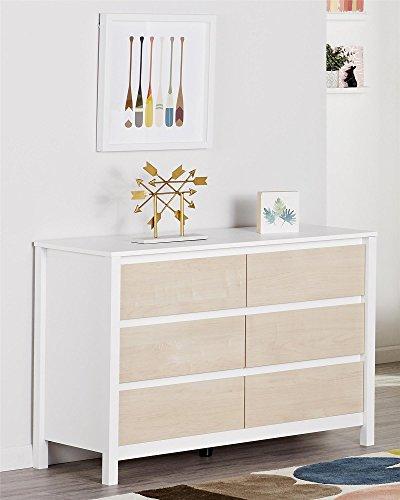 Novogratz Scandinavian Style Addison 6 Drawer Dresser, (White Natural Dresser)
