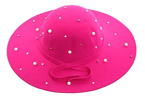 ACVIP Women Wide Brim Bowler Hat Floppy Felt Fedora Cap witn Faux Pearl (Hot Pink)