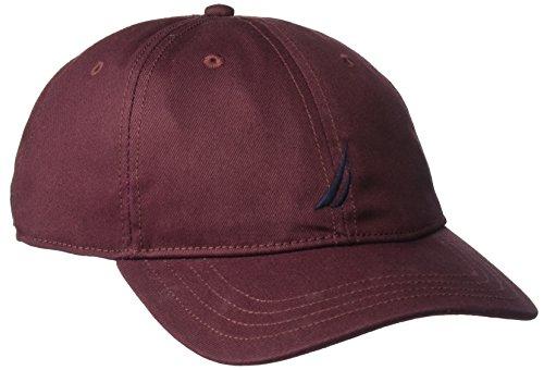 [Nautica Men's Standard Classic Logo Adjustable Baseball Cap Hat, Royal Burgundy, One Size] (Logo Adjustable Cotton)