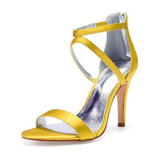 5 Satin 10 Mariage Chaussures Cm fête Éclair Haut Multicolore Talon Fermeture Moojm daily Yellow Dos Femmes Sandales Pour wtqpOWUzI