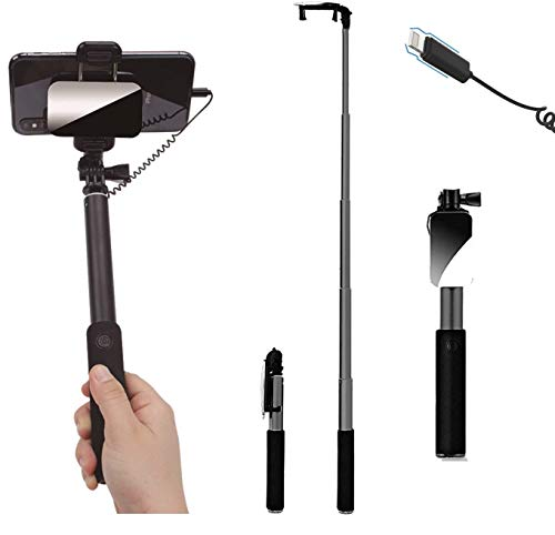 Selfie Stick with Mirror for Rear Camera,VPearl Portable Wired Selfie Stick, Compatible with iPhone X/XS/XS Max/8 Plus/8/7/7Plus/6S/6 (Black)