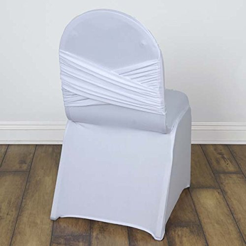 (Tableclothsfactory 30 PCS White Stretchy Spandex Fitted Banquet Chair Covers Criss Cross Bow on The Back for Wedding Party Banquet)