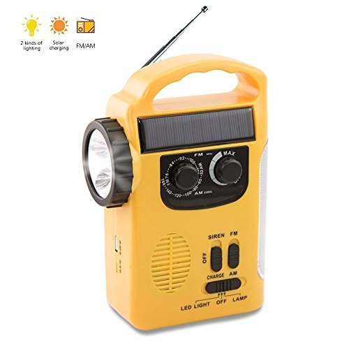 XIAOKOA Dynamo Emergency Flashlight Solar Hand Crank Self Powered AM/FM/SW Weather Alert Radio, Flashlight and Reading Lamp, Smart Phone Charger Power Bank Light With Warning Sign, YELLOW (RD339)