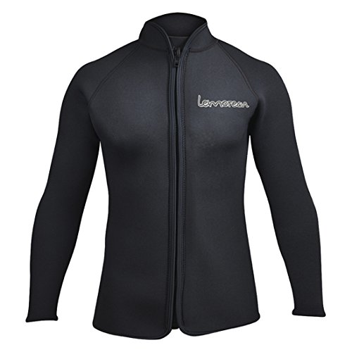 Lemorecn Adult's 3mm Wetsuits Jacket Long Sleeve Neoprene Wetsuits Top (LMJ021blackXXL)