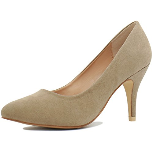 Allegra K Womens Scarpe A Punta Stiletto Beige Scuro