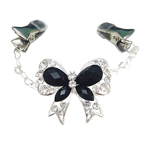 Ever Cute Rhinestone Pearl Bow Cardigan Sweater Clip Heart Chain Butterfly Brooch Rubber Guard Cases Shawl Collar Pins-Black