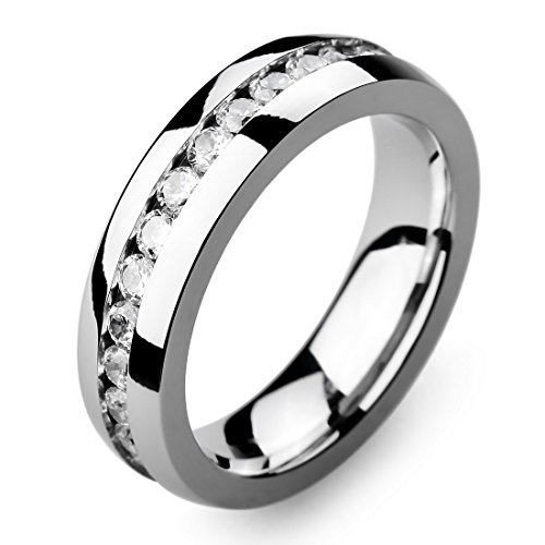 INBLUE Men's Wide 6mm Stainless Steel Eternity ring Band CZ Silver Tone Wedding Size10