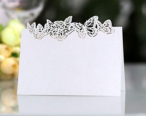 Cozy Villa 25 Pack Table Cards 4.6'' x 3.5'' White Small Tent Cards with Butterfly Laser Cut Border, Perfect for Place Settings