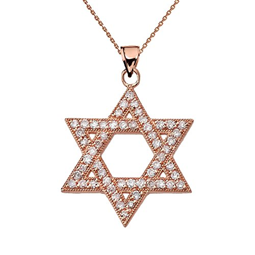 Dazzling Diamond Star of David in 14k Rose Gold Pendant Necklace, 18