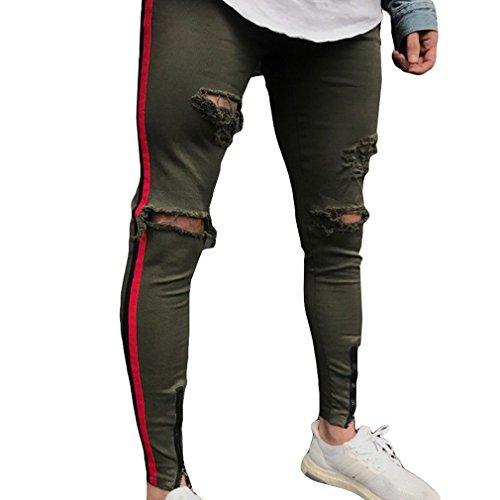 Jeans Destruidos Rasgados Hombres Slim Fit Apenado Agujeros Motocicleta Vintage Denim Pantalones Largos Pantalones Tamaño S-2XL Ejercito Verde