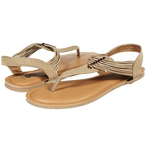 Sara Z Womens T Strap Elastic Vamp Flat Thong Sandal Size 7/8 Tan/Gold