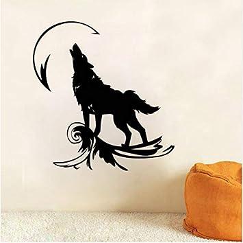 Sticker Mural Tatuajes de pared Aullido de lobo en la luna ...