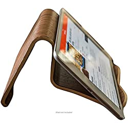 Natural Walnut Wood iPad and Cook Book Stand | Multi-Angle For iPhone, iPad Air/Pro, Surface Pro, Samsung Galaxy/Note, Google Nexus / Pixel, HTC, LG, Nokia, OnePlus, Kindle, E-Readers