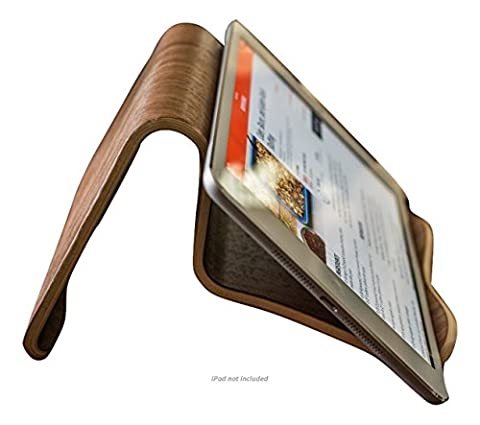 Natural Walnut Wood iPad and Cook Book Stand | Multi-Angle For iPhone, iPad Air/Pro, Surface Pro, Samsung Galaxy/Note, Google Nexus / Pixel, HTC, LG, Nokia, OnePlus, Kindle, - Wood Tripod Stand