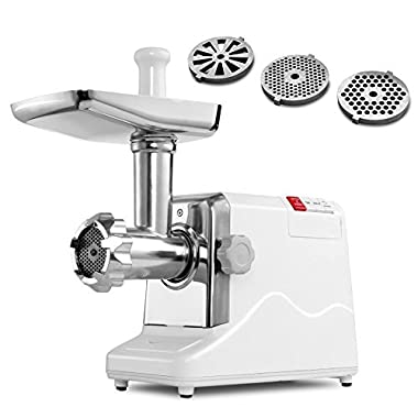 Meat Grinder Electric 2.6 HP 2000 Watt Industrial Heavy Duty Professional Commercial Home Sausage Stuffer Maker Food Mincer Slicer Mills Mixer with 3 Cutting Blades & Attachment Tool