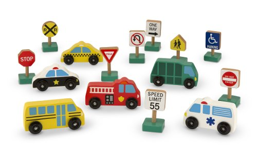 Signs Of The City (Melissa & Doug Wooden Vehicles and Traffic Signs With 6 Cars and 9 Signs)