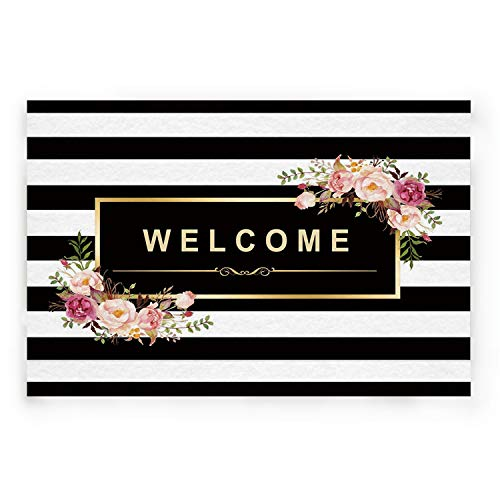 BABE MAPS Indoor Doormat Entrance Welcome Mat Absorbent Kitchen Rug Non Slip Shower Mat Funny Black and White Striped Pattern Home Decor for Inside Shoe Scraper Floor Carpet 30