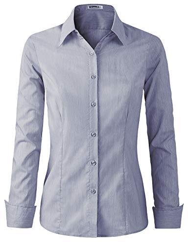 CLOVERY Women's Basic Long Sleeve Slim Fit Button Down Shirt
