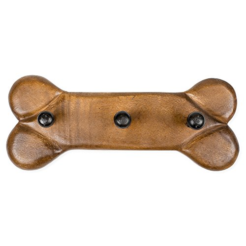 Dog Bone Leash Rack Stained Carved Acacia Hardwood Wall Hook Plaque (Hardwood Wall)