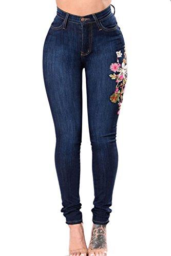 Simgahuva Womens Bordado Cintura Alta Pantalones Vaqueros Elásticos Recto Lápiz Azul