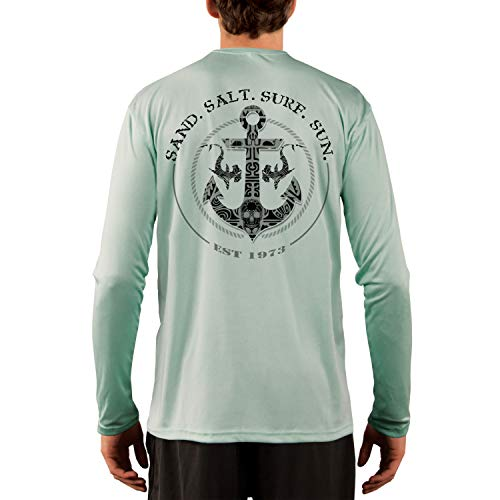 - SAND.SALT.SURF.SUN. Shark Anchor Men's UPF 50+ Long Sleeve T-Shirt Small Seagrass