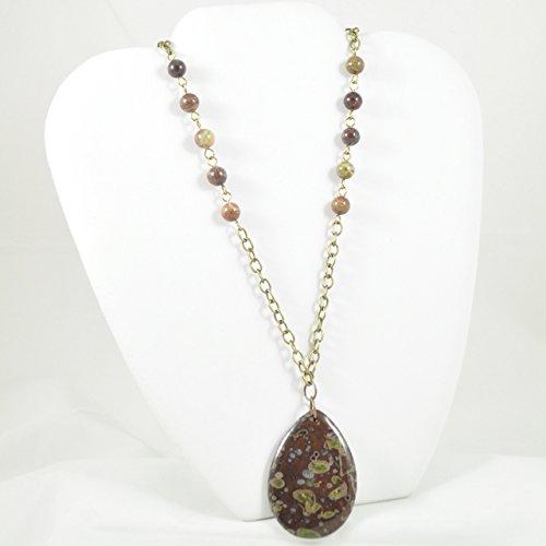 Beautiful Jasper Pendant (Beautiful Dragons Blood Jasper Pendant Necklace Beaded with Jasper Bead )