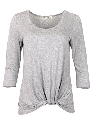 Zip Code Round Neck 3 4 Sleeve Tunic Blouse W Front Knot  X Large  Heather Gray