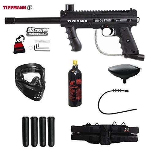 MAddog Tippmann 98 Custom Platinum Series Silver Paintball Gun Package - Black