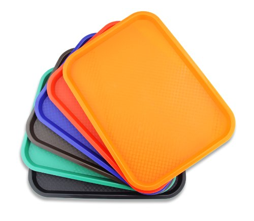 New Star Foodservice 26931 Fast Food Tray, 10 by 14-Inch, Orange, Set of 12