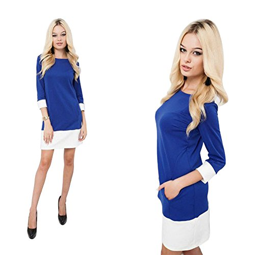ICOCOPRO Women's Casual Round Neck Pullover Medium Sleeve Slim Fit Trim Pockets Dress Tops
