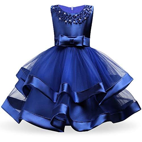 Kids Dresses for Girls Tutu Princess Children Evening Party Dresses Flower Girls Wedding Dress 3 4 5 6 7 8 Year,Navy Blue,8 ()