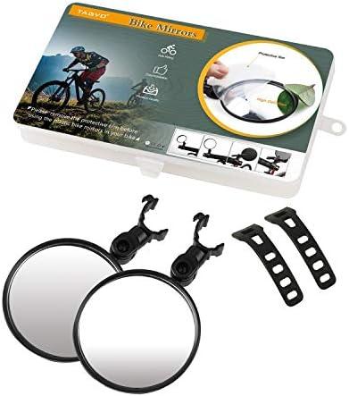 TAGVO Miroirs De Vélo, 2pcs Vélo Vélo Vue Arrière Miroirs Réglable Rotatif Guidon Monté en Plastique Miroir Convexe pour Vélo De Route De Montagne