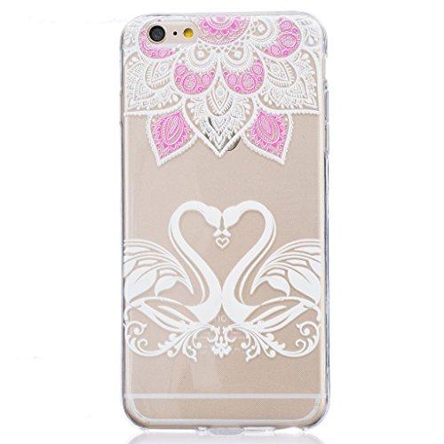 "Hülle iPhone 6 / 6S, IJIA Ultra Dünnen Schwan Lotus TPU Weich Silikon Handyhülle Schutzhülle Handyhüllen Schale Cover Case Tasche für Apple iPhone 6 / 6S (4.7"") + 24K Gold Aufkleber"