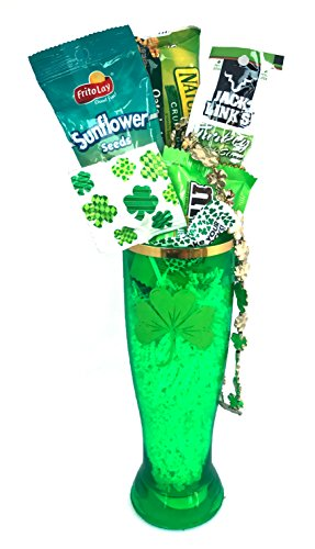 St Patricks Day Beer Mug Gift Set with Lucky Irish Snacks For Your Special Leprechaun (Tall Green Shamrock Acrylic Pilsner)