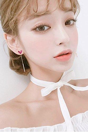 (Strawberry Sauce) Sterling Silver Stud Earrings earings Dangler Eardrop Women Girls Creative Personality Gift Woman fine Needles Tassel Unique Mini Love Long