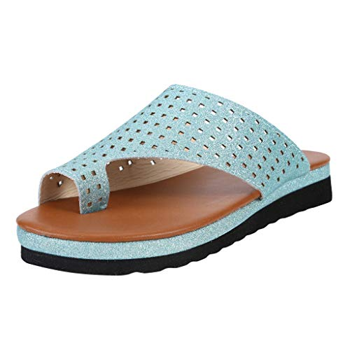 Walking Shoes,Londony❀ Womens Open Toe Gladiator Flat Sandals Slingback Ankle Strap Casual Beach Roman Summer Shoes Light Blue ()