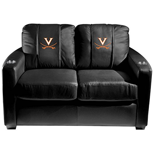 XZipit College Silver Loveseat with Virginia Cavaliers Logo Panel, Black