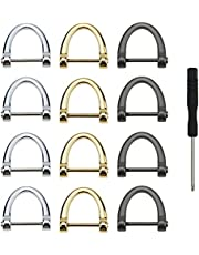 12PCS Loop D-Rings Screw in Shackle Semicircle D Ring for DIY Leather Craft Accessories, Silver, Black,Gold