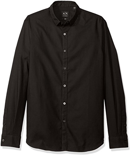 A|X Armani Exchange Men's Solid Long Sleeve Yarn Dyed Dobby Slim Fit, Black,