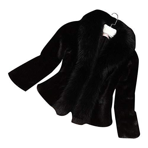 Redcolorful Winter Imitation Mink Fur Jacket for Women - Ladies Long Sleeve Short Designing Fur Coat Fox Fur Collar