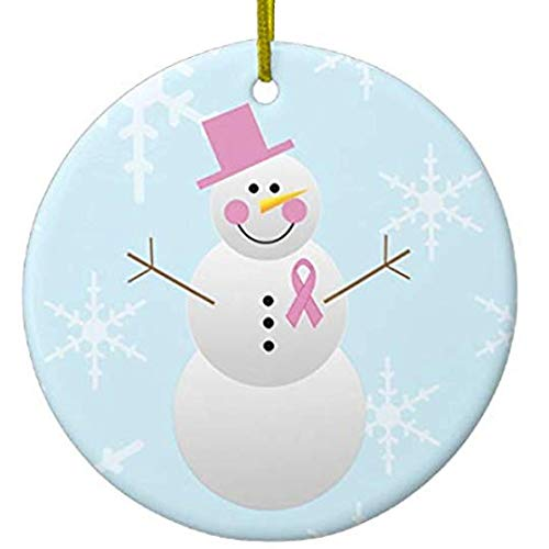 8Jo6Poe Breast Cancer Awareness Snowman Christmas Ornament