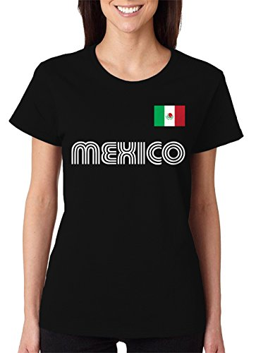 Black Womens Soccer Jersey - SpiritForged Apparel Mexico Soccer Jersey Women's T-Shirt, Black Large
