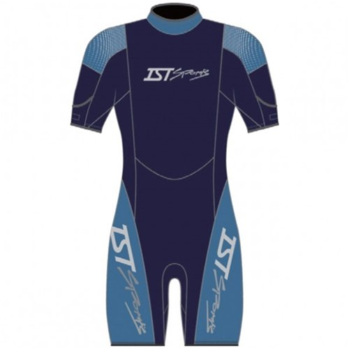 IST Mens 2.5mm Nylon II Unisex Shorty Wetsuit (Large, Black / Blue) (Wetsuit Mens Ist)
