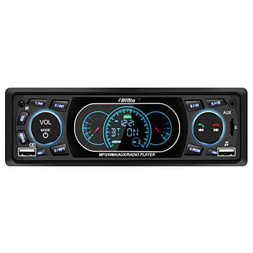 Favoto Car Stereo with Blueooth Single Din Uiversal in-Dash Head Unit Car Deck Car Radio MP3 Player Digital Media Receivers Handsfree Call USB TF FM AUX DC 12V Wireless Remote